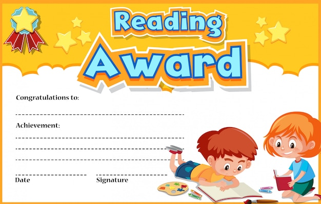 Certificate template for reading award with kids reading in background
