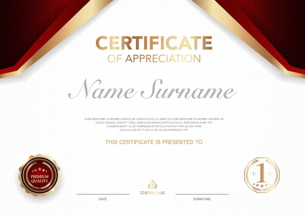인증서 템플릿 빨간색과 금색 럭셔리 스타일 이미지 기하학적 현대적인 디자인 벡터의 디플로마