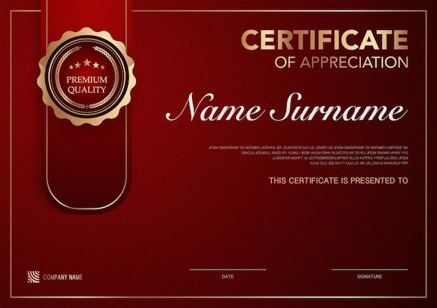 Certificate template red and gold luxury style image diploma of geometric modern design vector