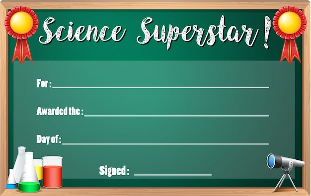 Certificate template for science superstar