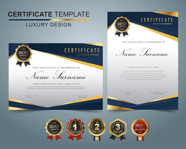 Certificate template set of dark blue and golden shapes and badge.