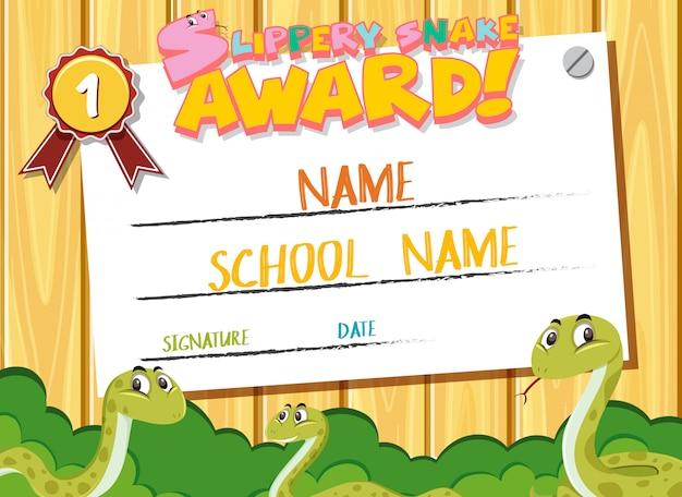 Certificate template for slippery snake award