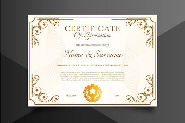 Certificate template in sophisticated style