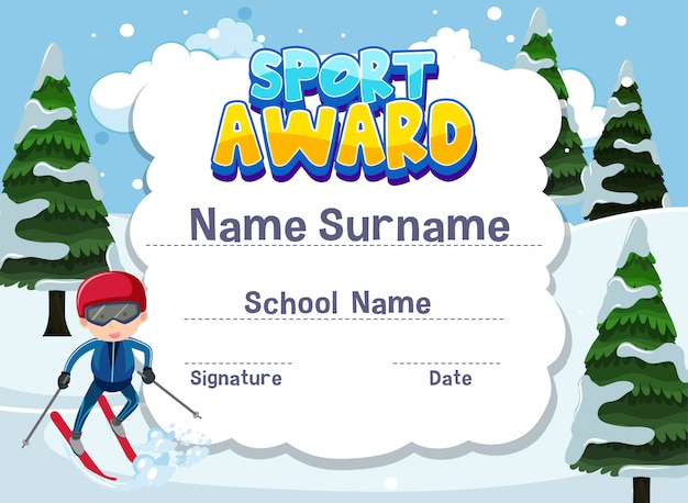 Certificate template for sport award with boy skiing in
