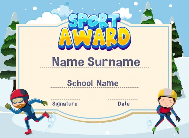 Certificate template for sport award with kids iceskating