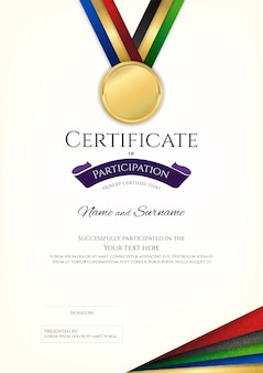 Certificate template in sport theme with border frame