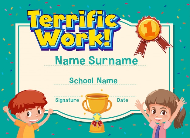 Certificate template for terrific work award with happy kids