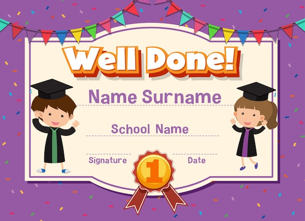 Certificate template for well done with children