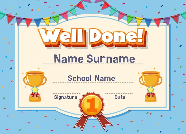 Certificate template for well done with trophy and flags