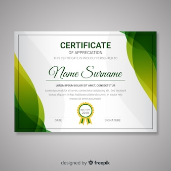 Certificate template with abstract modern shapes