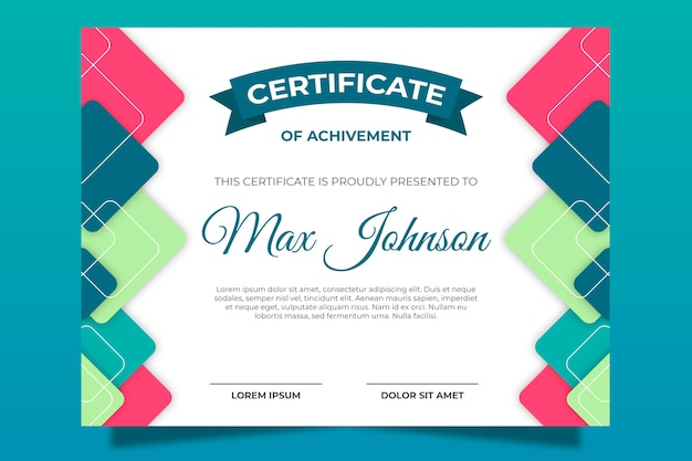Certificate template with abstract shapes