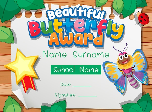 Certificate template with beautiful butterfly award
