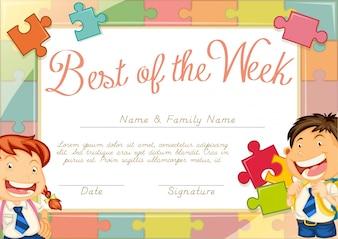Шаблон сертификата с детским фоном