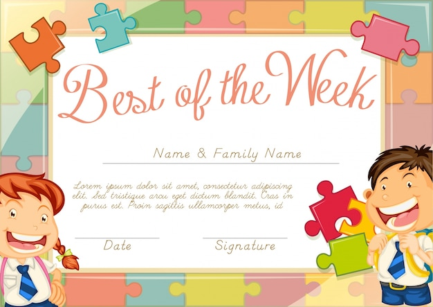 Certificate template with children background