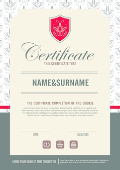 Certificate template with clean and modern pattern,qualification certificate blank template with elegant, illustration