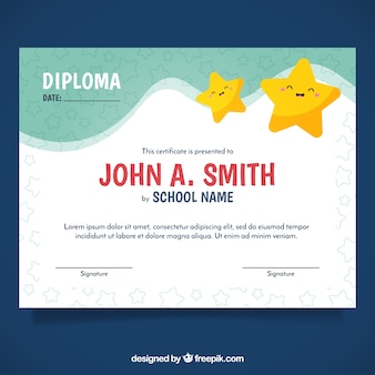 Certificate template with cute stars
