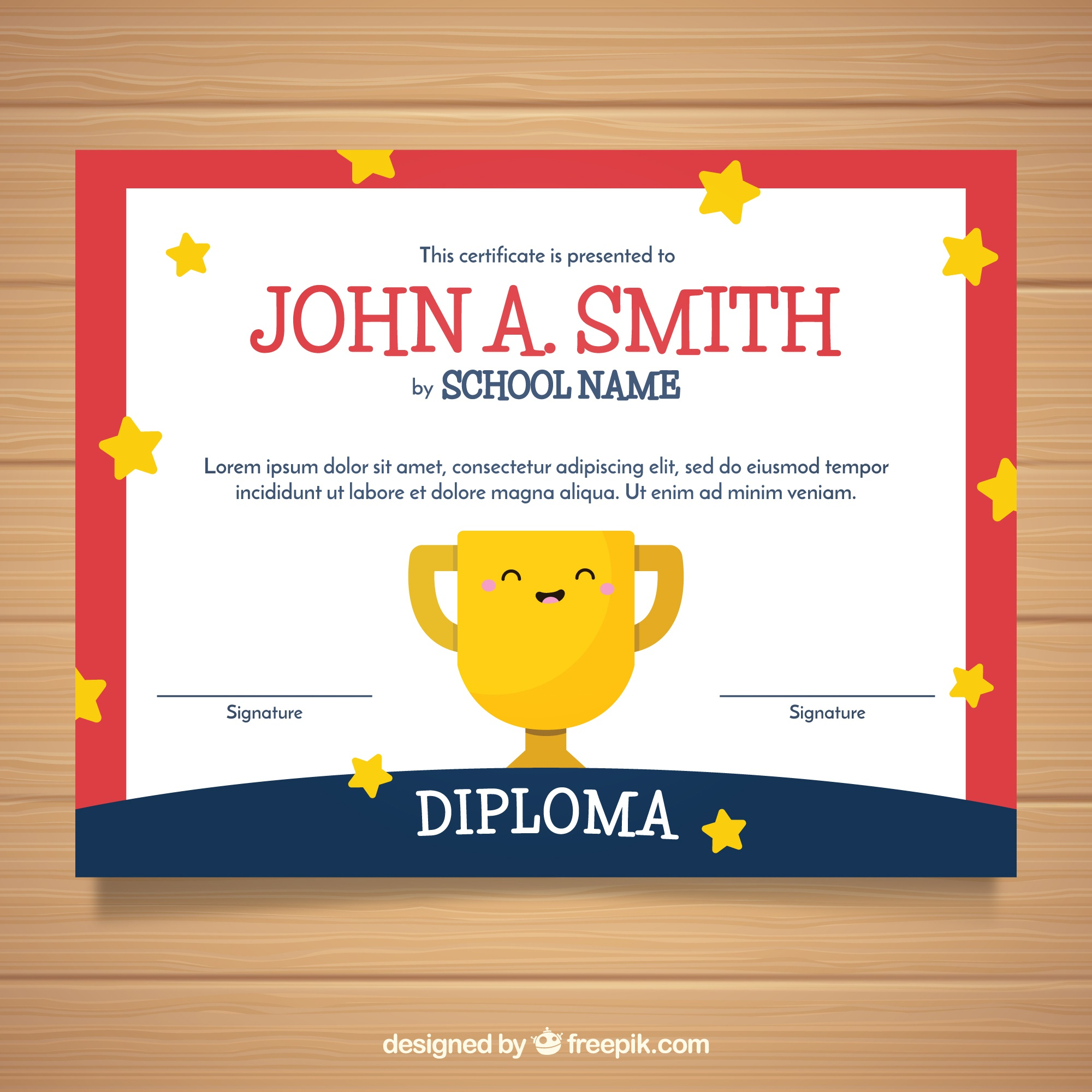 Certificate template with cute trophy