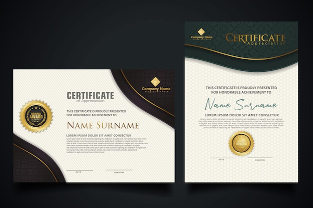 Certificate template with elegant corner frame and luxury realistic texture pattern, diploma and premium badges design. vector illustration