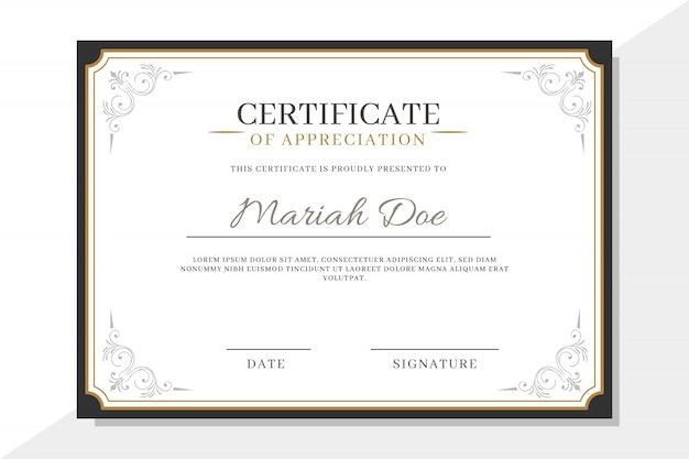 Certificate template with elegant elements
