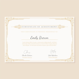 Certificate template with elegant frame