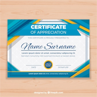 Certificate template with flat and colorful shapes