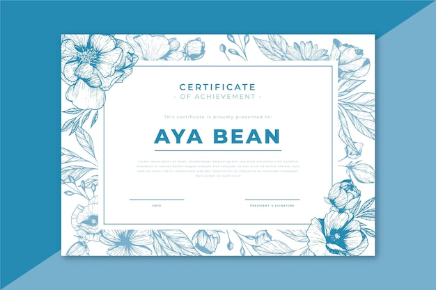 Certificate template with floral elements
