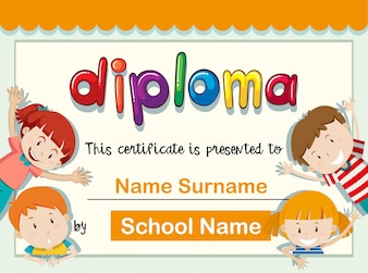 Certificate template with four kids with big smile