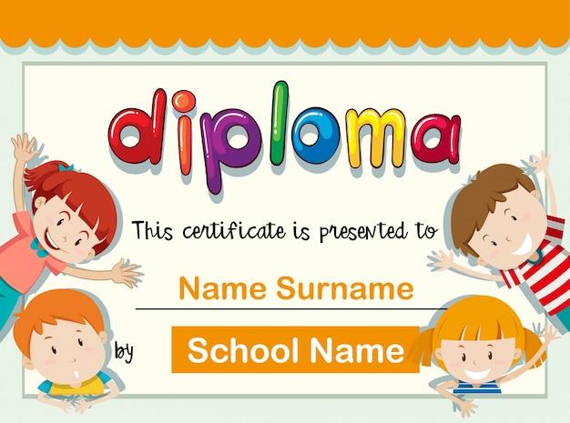 Modello di certificato con quattro bambini con un grande sorriso