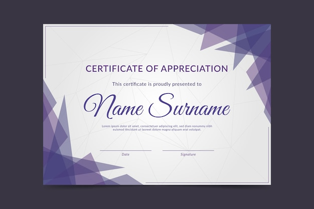 Certificate template with geometric shapes