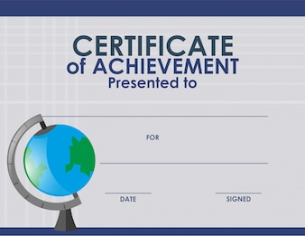 Certificate template with globe