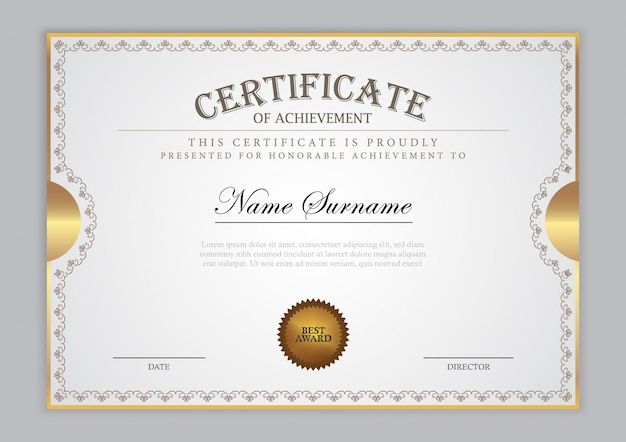 Certificate template with gold element and modern design, diploma