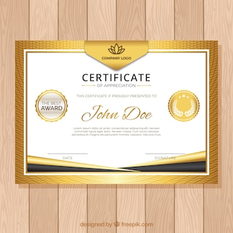Certificate vectors photos and psd files free download certificate template with golden color yelopaper Gallery