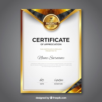 Award certificate vectors photos and psd files free download certificate template with golden color cheaphphosting Images