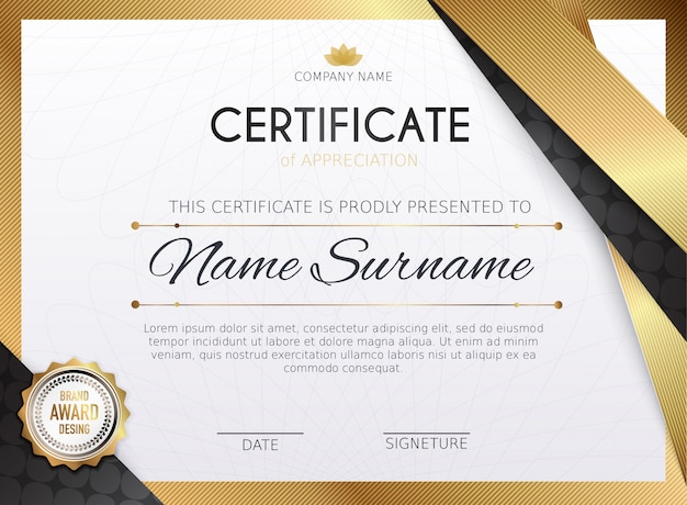 Certificate template with golden decoration element.  diploma graduation, award.  illustration.