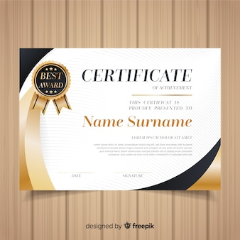 Certificate template with golden elements