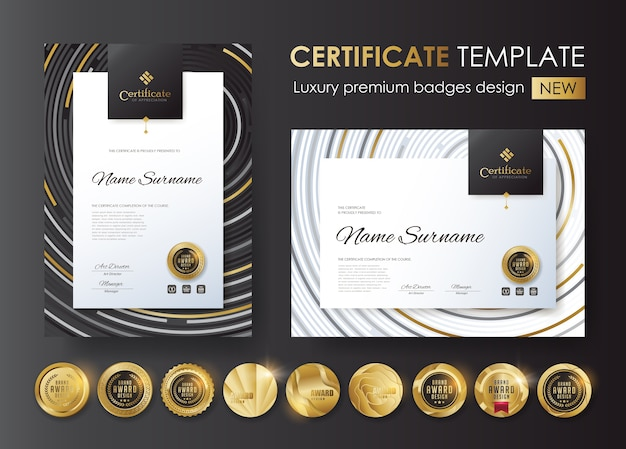 Certificate template with luxury and premium badges