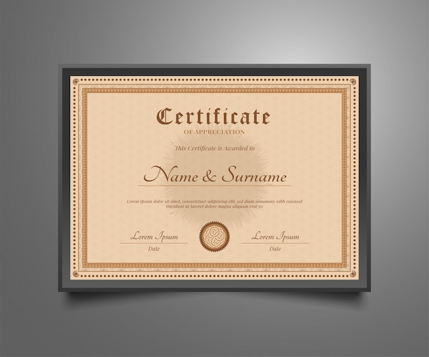Certificate template with old classic style