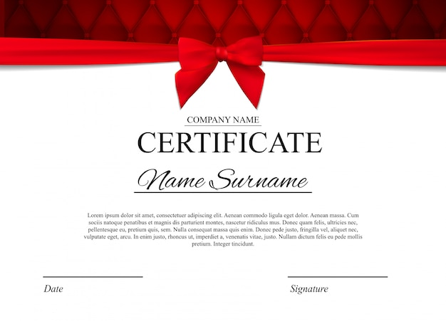 Certificate template  with red bow
