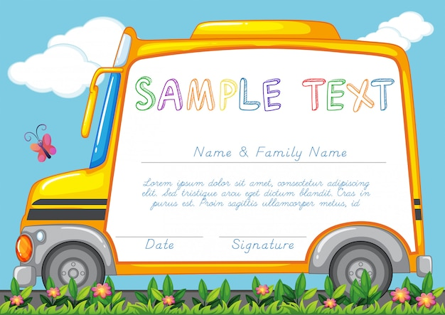 Certificate template with school bus