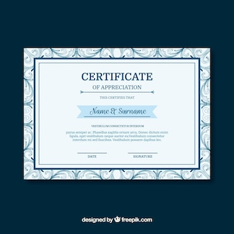 Certificate template with vintage style