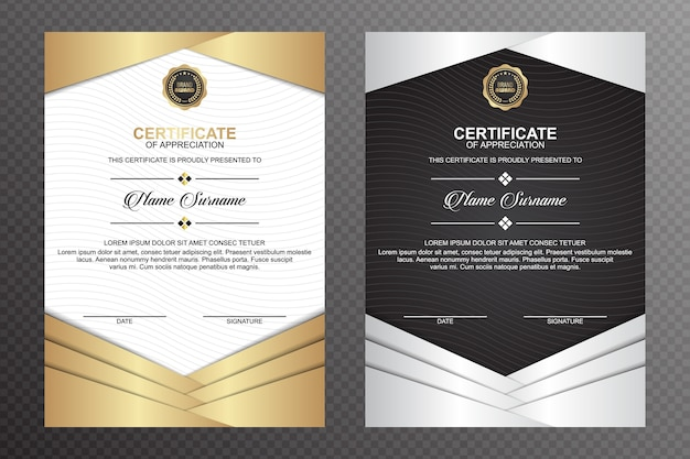 Certificate template with wavy lines background