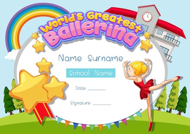Certificate template for world's greatest ballerina