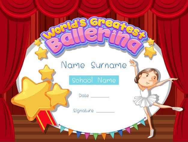 Modello di certificato per la più grande ballerina del mondo