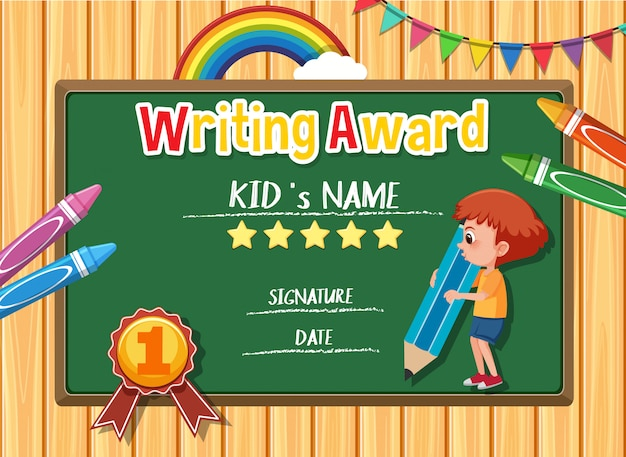 Certificate template for writing award with boy writing in background