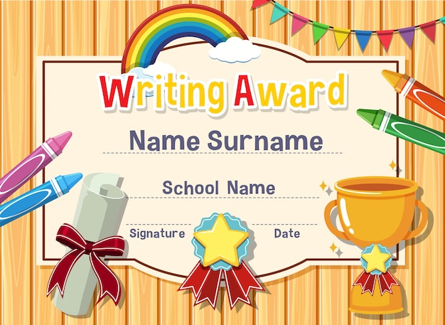 Certificate template for writing award with crayons and trophy in background