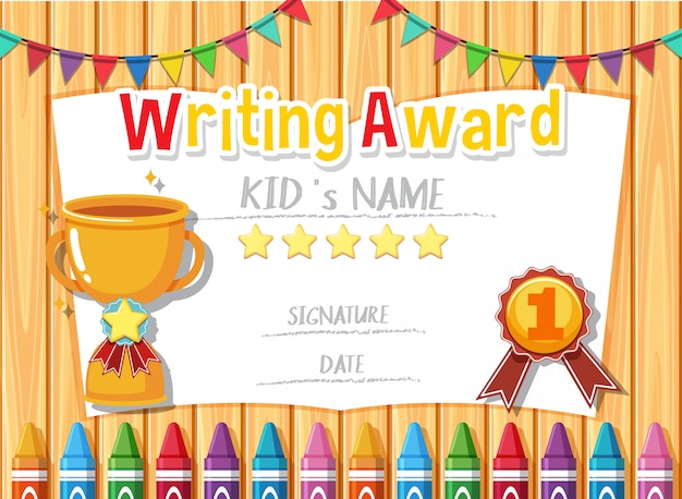 Certificate template for writing award with trophy in background