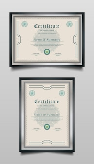 Certificate templates with abstract ornaments and vintage style