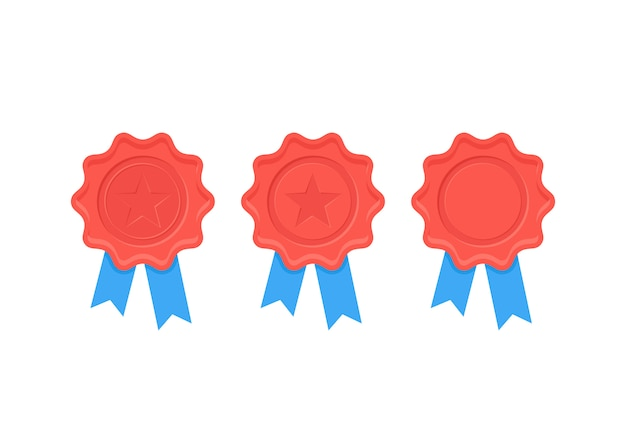 Certificate wax seal.   illustration. flat design.