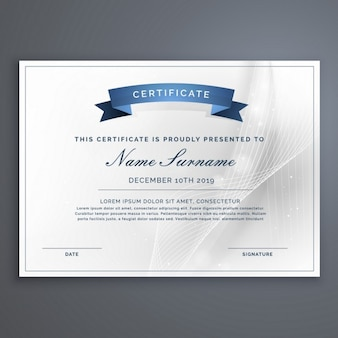 Certificate with a blue ribbon