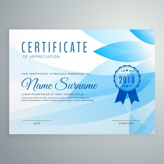 Certificate with blue floral shapes